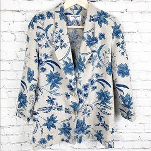 Alfred Dunner Floral Linen Blazer size 8